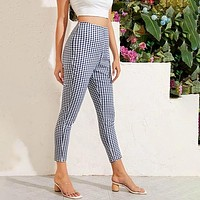 Gingham Print Capris Tapered Pants
