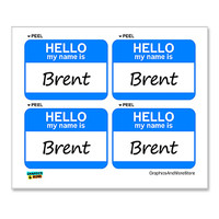 Brent Hello My Name Is - Sheet of 4 Stickers