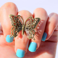 Butterfly Ring - Statment  Knuckle Ring  - Steampunk  Goth Knuckle Ring- Cocktail Midi Ring - Vintage Knuckle Ring by  Tiny Box