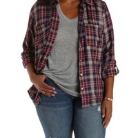 Plus Size Flyaway Plaid Button-Up Top