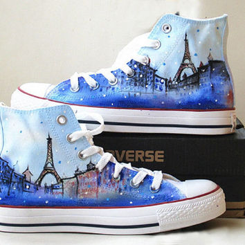 Eiffel tower shoes Converse Sneakers HandPainted