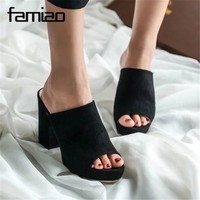 FAMIAO Woman Summer Gladiator Sandals Peep Toe  High Heel Sandals