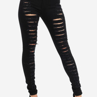 Trendy Jeans-Cute High Waist Jeans-Black ripped jeans