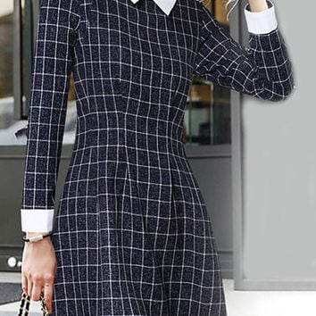 Navy Plaid Contrast Pointed Flat Collar Long Sleeve A-line Mini Dress