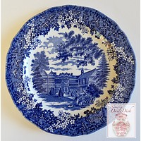 Blue Toile Transferware Plate English Country Manor House Flowers Berries