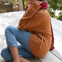 Honey Punch V-Neck Cable Tunic Pullover Sweater at PacSun.com