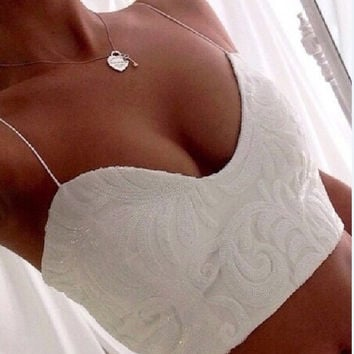 Hot Sale Summer Spaghetti Strap Crop Top Tee Lace V-neck T-shirts = 5839441345