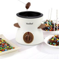 VonShef Electric Chocolate Fondue Melting Pot, Warmer, Chocolatier - Includes FREE Spatula, 10 Skewers & 10 Forks