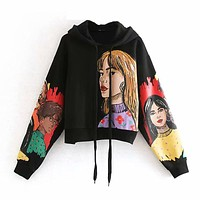 Streetwear Character Print Hooded Hoodies Women Long Sleeve Loose Black Sweatshirts Pullover Tops Autumn Spring Sudadera Mujer