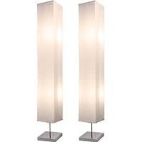 Honors Floor Lamp by Lightaccents - Paper and Chrome Standing Lamp - Fits in Modern Home Decor Perfect for Bedroom Decor - Japanese Style Standing Lamps for Bedrooms 50 Inches Tall with White Paper S White (2-pack) Paper B