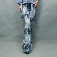 Zicac New Women Long Casual Skinny Stretchy Denim Bell-bottom Jeans Pants