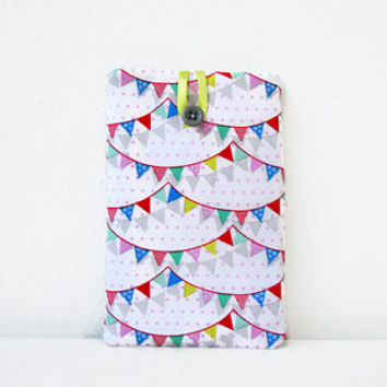 Bunting print Kindle case, 7 inch tablet cover, padded tablet sleeve, nexus 7, kindle fire, Samsung galaxy tab 7, handmade in the UK