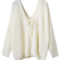 White V-neck Tie Back Long Sleeve Knit Jumper