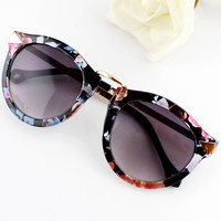 Purple Lenses Floral Sunglasses - Sheinside.com