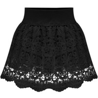 Black Floral Crochet Lace Skirt