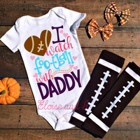 football baby girl, football baby outfit, football baby clothes, football baby shower gifts, i watch football with daddy, football bodysuits