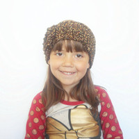 Girls, Womens Winter Ear Warmer Headband in Brown Confetti with Large Rose, ready to ship.