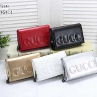 """Gucci"" Women Fashion Personality Letter Pattern Metal Chain Single Shoulder Messenger Bag Small Square Bag"