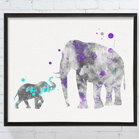 Mom and Baby Elephant, Baby Boy Nursery, Nursery Decor, Watercolor Elephant, Elephant Wall Decor, Elephant Art Print, Baby Boy Gift, Kids