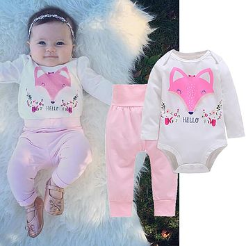 Fashion Baby Girls Hello Fox Long Sleeve Pullover Romper Pants Outfits Cloth Set