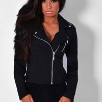 Vieux Black Quilt Detail Biker Jacket | Pink Boutique