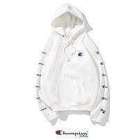 Champion Autumn And Winter New Fashion String Mark Print Couple Hooded Long Sleeve Sweater White