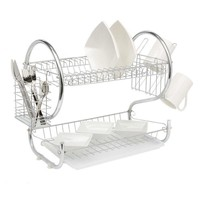2 Tiers Dish Cup Drying Rack Holder Organizer Drainer Dryer Tray Cutlery In Kitchen