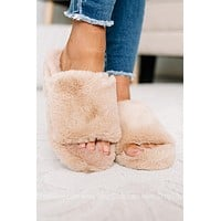 Just Loungin' Fuzzy Slippers | Sand