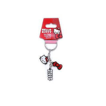 Licensed Official New Cartoon Sanrio Hello Kitty Bow Core 3 Pendent Metal Key Chain