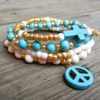 Beaded Stretch Bracelet Stack with Turquoise White and Gold Polished Glass Beads and Stones with Turquoise Peace Sign and Cross for Summer
