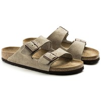 Hot Sale Arizona Suede Leather Summer Fashion Leather Beach Lovers Slippers Casual Sandals For Women Men Couples Slippers color Taupe size 36-45