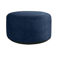 Chic Microsuede Saddle Stitch Indoor Inflatable Pouf Ottoman Navy