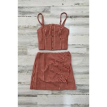 Gingham Print Two Piece Set- Red