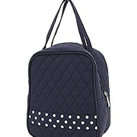 Quilted Solid Polka Dot Accent Lunch Bag (Navy/White)