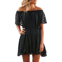 Sexy Ruffled Solid Off Shoulder Dress