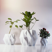 EleMental Polygon Planter Set-of-3, 3D Printed Geometric Modern Art, Plastic Indoor Plant Pots, Math Inspired Contemporary Decor