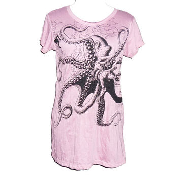 Octopus old pink t shirt women tee cotton wrinkled clothes sea animal prints size XS/ S/ M **pink clothes **women tops **teen girl shirt