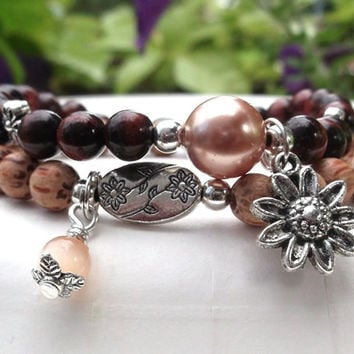 Sunflower Charm and Red Tiger Eye Bracelet