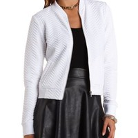 Quilted Chevron Bomber Jacket by Charlotte Russe