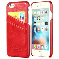 Red Leather HQ Card Case iPhone 7 Cases 7,7+