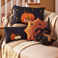 Halloween Pillows Primitive Rustic Country Pumpkin Jack-o'Lantern Spiderweb Black Cat Witch