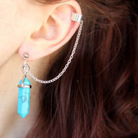 Turquoise Ear Cuff Wrap, Turquoise Earrings, Healing Crystals and Stones, Non Pierced Ear Cuff, Turquoise Pendant, Crystal Ear Cuff