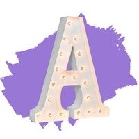 """24"""" Letter A Lighted Marquee Letters (White Gloss)"""