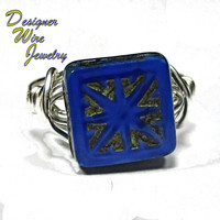 DWJ0239 Lovely Czech Glass Picasso Sapphire Blue Silver Wire Wrapped Ring All Sizes