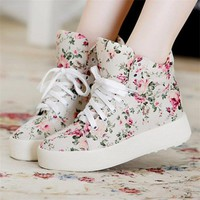 Floral Print Canvas Shoes