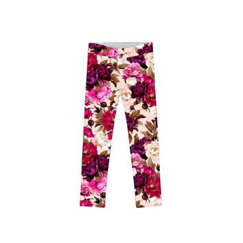 Vintage Charm Lucy Cute Floral Print Fall Knit Leggings - Girls