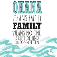 ohana means family.. lilo and stitch disney... Stretched Canvas by studiomarshallarts