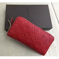LOUIS VUITTON WOMEN MEN'S LEATHER WALLET PURSE WALLETS RED I