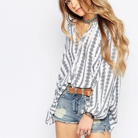 Glamorous Boho Festival Smock Top In Embroidered Print at asos.com