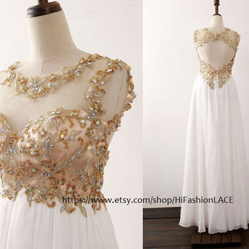 White Prom Dress, Straps Chiffon Lace Long Prom Gown with Open Back,  Gold Lace White Chiffon Formal Gown,  Wedding Bridesmaid Dresses